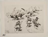 Sketch of Neanderthals Hunting Dinosaurs