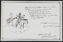 Reproduction of an illustrated message from Charles M. Russell