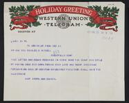 Telegram from Mary Brown to the Russells