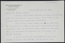 Letter from Arthur Chapman to the Russells