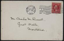 Enveloped to Charles M. Russell