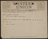 Telegram from Ralph Budd to Kathryn Leighton