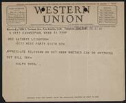 Telegram from Ralph Budd to Kathryn Leighton