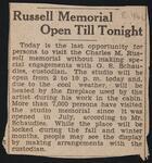 Russell Memorial Open Till Tonight