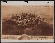"Newspaper clipping of Charles M. Russell's ""The War Party"" painting"