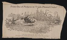 "Newspaper Clipping of a drawing from ""Trails Plowed Under"""