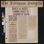"Charles M. Russell ""Cowboy Artist"" is Stricken by Death"