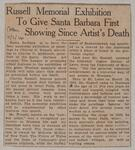 Russell Memorial Exhibition to Give Santa Barbara First Showing Since Artist's Death