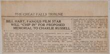 """Bill Hart, Famous Film Star Will """"Chip in"""" for Proposed Memorial to Charlie Russell"""