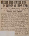 Russell Held Himself Rich in Friends of Many Kinds