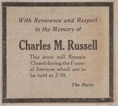 Newspaper clipping regarding store closing during the funeral services of Charles M. Russell