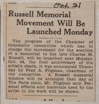 Russell Memorial Movement Will Be Launched Monday