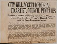 City will Accept Memorial to Artist, Council Indicates
