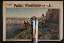 Newspaper featuring a color image of one of Charles M. Russell's paintings