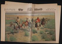 Newspaper with two paintings by Frederic Remington and Jeanne Thil on front page