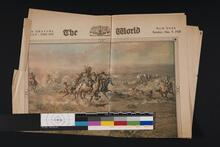 Newspaper with two paintings, one by Charles M. Russell, the other by Charles Schreyvogel