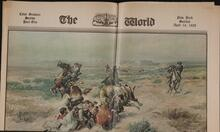 Newspaper with three reproductions of paintings by Charles M. Russell