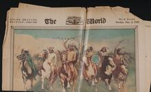 Newspaper with reproductions of paintings by Frederic Remington and Charles Schreyvogel
