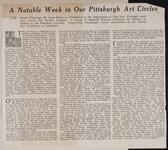 A Notable Week in Our Pittsburg Art Circles