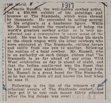 Newspaper clipping of an article discussing Charles M. Russell's work at the Stampede