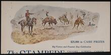 Newspaper clipping with color print of a Charles M. Russell picture in an advertisement for the Stampede