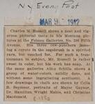 Newspaper clipping of an article about Charles M. Russell at Folsom review