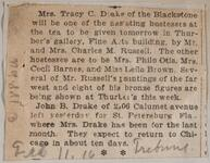 Newspaper clipping of an article about Fine Arts Building hosting tea for Charles M. Russell and Nancy C. Russell