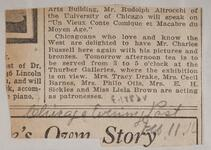 Newspaper clipping of an article about Chicagoan delighted to have Charles M. Russell and Nancy C. Russell