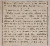 Newspaper clipping of an article about Charles M. Russell being a guest at tea at the Thurber Galleries in Chicago