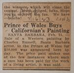 Prince of Wales Buys Californian's Painting