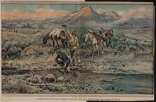 "Clipping of a reproduction of Charles M. Russell's painting ""Discovery of Last Chance Gulch"""