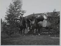 Charles M. Russell, Nancy C. Russell, and Friend on Horses