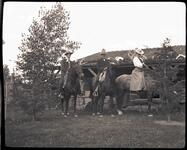 Charles M. Russell, Nancy C. Russell and Friend on Horses