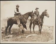 Edward Borein and unknown man on horseback