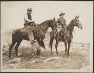 Edward Borein and unknown man on horseback