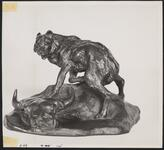 Bronze Wolf with Buffalo Skull