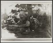 Women in Canoe startled by an Indian Warrior
