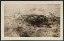 Indians Hunting a Running Herd of Buffalo