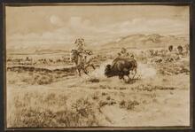Indian Chasing Buffalo