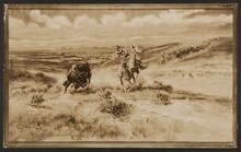 Cowboy Chasing a Buffalo
