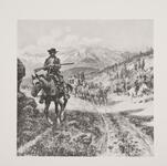 Mounted Cowboy Leading a Stagecoach