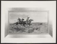 Mounted Cowboys Roping a Wolf