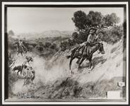 Mounted Cowboys Roping a Cow