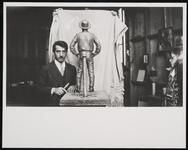 Portrait of Male Sculptor with Sculpture of Charles M. Russell
