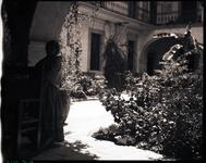 Woman near Courtyard