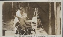 Charles and Nancy Russell on the Porch of Bull Head Lodge