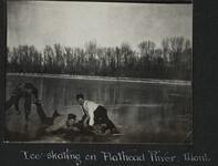 Men Ice Skating on Flathead River, Montana