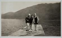 Swimmers on Dock at Lake McDonald