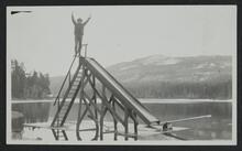 Man Standing on Slide