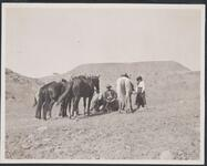 Group of Horses and Riders Resting